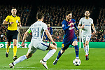 Lionel Andres Messi (R) of FC Barcelona fights for the ball with Cesar Azpillicueta of Chelsea FC during the UEFA Champions League 2017-18 Round of 16 (2nd leg) match between FC Barcelona and Chelsea FC at Camp Nou on 14 March 2018 in Barcelona, Spain. Photo by Vicens Gimenez / Power Sport Images