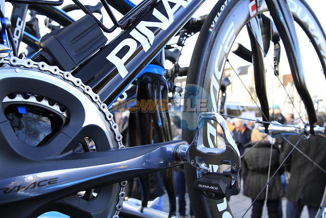 Sky Procycling's spare Pinarello bikes on the team car at sign on before the start of the 96th edition of The Tour of Flanders 2012 in Bruges Market Square, running 256.9km from Bruges to Oudenaarde, Belgium. 1st April 2012. <br /> (Photo by Steven Franzoni/NEWSFILE).