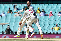 11th January 2021; Sydney Cricket Ground, Sydney, New South Wales, Australia; International Test Cricket, Third Test Day Five, Australia versus India; Marnus Labuschagne of Australia catches the ball as Nathan Lyon of Australia thinks he has a wicket