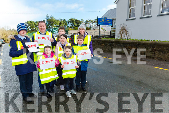 Tiernaboul NS Principal Conor Gleeson and his pupils are appealing to motorists to Slow Down Don't Know Down outside their school l-r: Robert Ryan, Emma O'Sullivan, Rachel O'Sullivan, Mick Sheahan, Cathal McGillicuddy, Back row: Conor Gleeson Andrew McGillicuddy  and Grace O'Keeffe