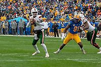 Miami Hurricanes quarterback N'Kosi Perry looks to pass. The Miami Hurricanes football team defeated the Pitt Panthers 16-12 in a game at Heinz Field, Pittsburgh, Pennsylvania on October 26, 2019.