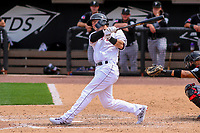 Wisconsin Timber Rattlers outfielder Tristen Lutz (21) swings at a pitch during a Midwest League game against the Lansing Lugnuts on May 8, 2018 at Fox Cities Stadium in Appleton, Wisconsin. Lansing defeated Wisconsin 11-4. (Brad Krause/Four Seam Images)