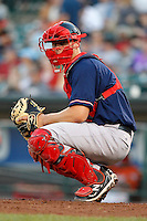 Pawtucket Red Sox catcher Ryan Lavarnway #41 in the field during a game against the Rochester Red Wings at Frontier Field on August 30, 2011 in Rochester, New York.  Rochester defeated Pawtucket 8-6.  (Mike Janes/Four Seam Images)