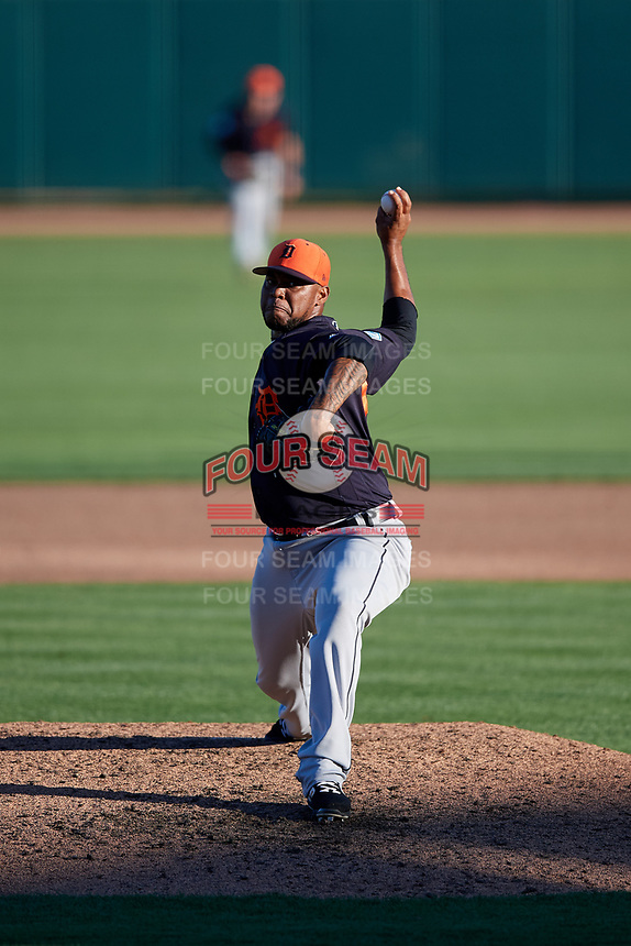Detroit Tigers relief pitcher Jose Cisnero (67) delivers a pitch during a Grapefruit League Spring Training game against the Baltimore Orioles on March 3, 2019 at Ed Smith Stadium in Sarasota, Florida.  Baltimore defeated Detroit 7-5.  (Mike Janes/Four Seam Images)