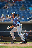 West Michigan Whitecaps first baseman Reynaldo Rivera (14) flies out during a game against the Quad Cities River Bandits on July 23, 2018 at Modern Woodmen Park in Davenport, Iowa.  Quad Cities defeated West Michigan 7-4.  (Mike Janes/Four Seam Images)