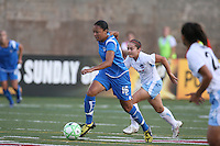 Angela Hucles (#16) moves the ball up the field. The Boston Breakers defeated the Chicago Red Stars 1-0, at Harvard Stadium, in Cambridge, MA, Wednesday, July 15, 2009.