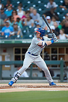 Billy McKinney (15) of the Buffalo Bison at bat against the Charlotte Knights at BB&T BallPark on August 14, 2018 in Charlotte, North Carolina. The Bison defeated the Knights 14-5.  (Brian Westerholt/Four Seam Images)
