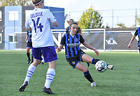 Angel Kerkhove (11) of Club Brugge pictured in a duel with Laura Deloose (14) of Anderlecht during a female soccer game between Club Brugge Dames YLA and RSC Anderlecht on the fourth matchday in Play-Off 1 of the 2020 - 2021 season of Belgian Scooore Womens Super League , saturday 1st May 2021  in Brugge , Belgium . PHOTO SPORTPIX.BE | SPP | DAVID CATRY