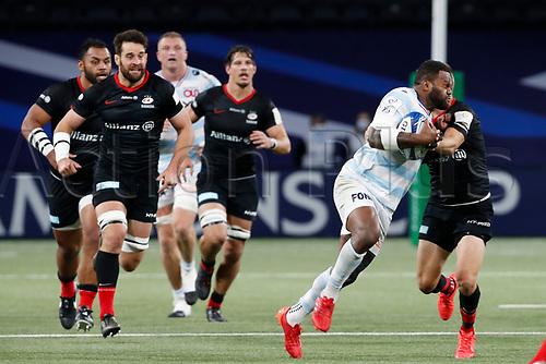 26th September 2020, Paris La Défense Arena, Paris, France; Champions Cup rugby semi-final, Racing 92 versus Saracens; Vakatawa (Racing 92) is held up on a run