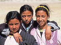 Tunisia, Le Kef.  Three Tunisian Schoolgirls.