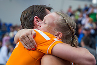 Bratislava, Slovenia, April 23, 2017,  FedCup: Slovakia-Netherlands,seccond rubber sunday,  Dutch Captain Paul Haarhuis embracing Kiki Bertens after defeating Slovakia<br /> Photo: Tennisimages/Henk Koster