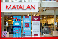 Pictured: Window display showing social distancing in place at Matalan on Queen Street in Cardiff, Wales, UK. Friday 8th January 2021<br /> Re: The whole of Wales in in Tier 4 due to rising Covid-19 Coronavirus cases, Cardiff, Wales, UK.