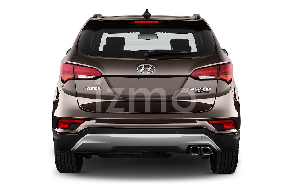 Straight rear view of 2016 Hyundai Santa-Fe Executive 5 Door Suv Rear View  stock images