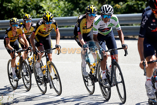 White Jersey Egan Bernal (COL) Ineos Grenadiers in the main bunch during Stage 20 of La Vuelta d'Espana 2021, running 202.2km from Sanxenxo to Mos, Spain. 4th September 2021.    <br /> Picture: Luis Angel Gomez/Photogomezsport | Cyclefile<br /> <br /> All photos usage must carry mandatory copyright credit (© Cyclefile | Luis Angel Gomez/Photogomezsport)