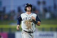 Jake Means (9) of the Columbia Fireflies jogs towards home plate during the game against the Kannapolis Cannon Ballers at Atrium Health Ballpark on May 20, 2021 in Kannapolis, North Carolina. (Brian Westerholt/Four Seam Images)
