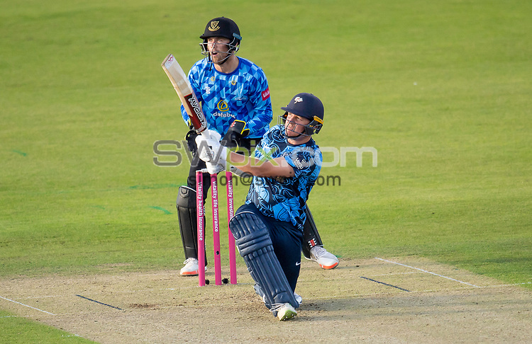 Picture by Allan McKenzie/SWpix.com - 24/08/2021 - Cricket - Vitality Blast Quarter Final - Yorkshire Vikings v Sussex Sharks - Emirates Durham ICG, Chester-le-Street, England - Viking's Gary Ballance hits out against the Sharks.