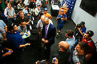 BOSTON, MASS. - SEPT. 28, 2014: Derek Jeter walks past journalists after a press conference after the New York Yankees and Boston Red Sox game at Fenway Park. The game is last game of Derek Jeter's career. M. Scott Brauer for The New York Times