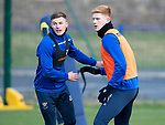 St Johnstone Training…….Callum Hendry and Madis Vihmann pictured during training at McDiarmid Park ahead of tomorrow's SPFL fixture against Livingston.<br />Picture by Graeme Hart.<br />Copyright Perthshire Picture Agency<br />Tel: 01738 623350  Mobile: 07990 594431
