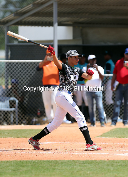 Jonathan Peguero participates in an international showcase hosted by JDB Baseball at the Quality Baseball Academy on February 20, 2018 in Santo Domingo, Dominican Republic (Bill Mitchell)