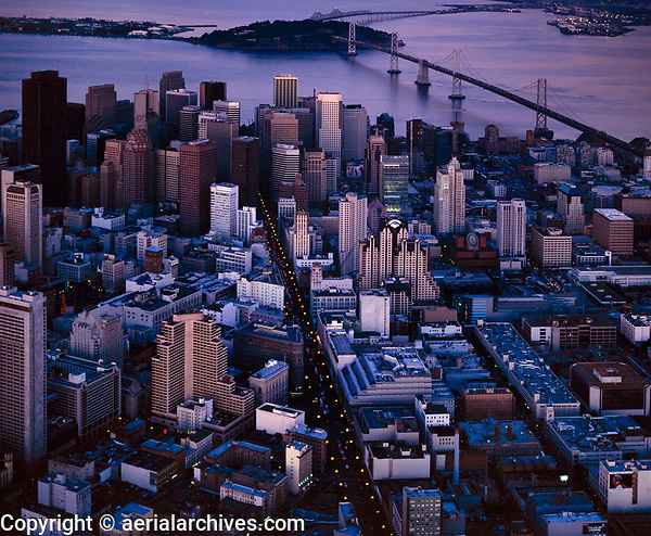 historical aerial photograph of downtown San Francisco, California at dusk, 1999
