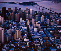 historical aerial photograph of downtown San Francisco, California at dusk, 1999