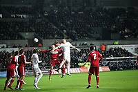 League Cup Quarter Final, Swansea V Middlesbrough, Liberty Stadium, 12/12/12<br /> Picture by: Ben Wyeth<br /> Pictured: (L-R) Lukas Jutkiewicz, George Friend, Michu, Nickey Bailey, Seb Hines, Garry Monk, Justin Hoyte.<br /> Athena Picture Agency