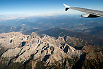 Italian Alps from above taken from an airplane window. Italy 2018 2010s,