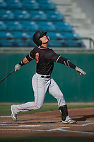 Modesto Nuts shortstop Bryson Brigman (8) follows through on his swing during a California League game against the San Jose Giants at San Jose Municipal Stadium on May 15, 2018 in San Jose, California. Modesto defeated San Jose 7-5. (Zachary Lucy/Four Seam Images)