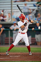 Auburn Doubledays center fielder Ricardo Mendez (17) at bat during a game against the Hudson Valley Renegades on September 5, 2018 at Falcon Park in Auburn, New York.  Hudson Valley defeated Auburn 11-5.  (Mike Janes/Four Seam Images)