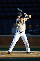 Bobby Seymour (3) of the Wake Forest Demon Deacons at bat against the Liberty Flames at David F. Couch Ballpark on April 25, 2018 in  Winston-Salem, North Carolina.  The Demon Deacons defeated the Flames 8-7.  (Brian Westerholt/Four Seam Images)