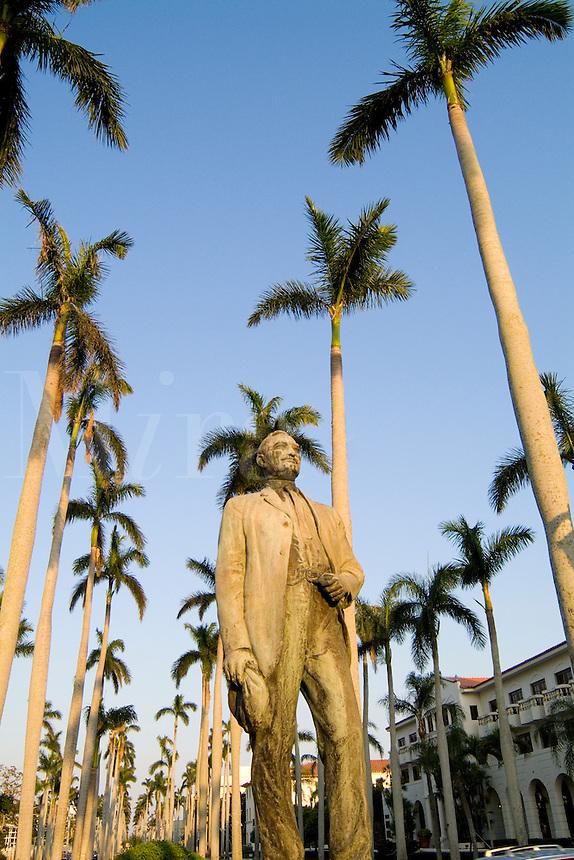 Founder of Palm Beach Statue  Elisha Newton Dimick in expensive Palm Beach Florida on Royal Palm Wa