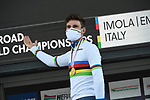 Gold medal and World Champion's Jersey for Filippo Ganna (ITA) as he wins the 31.7km Men Elite Time Trial of the 2020 UCI World Championships held around Imola, Italy. 25th September 2020.  <br /> Picture: Sirotti Stefano | Cyclefile<br /> <br /> All photos usage must carry mandatory copyright credit (© Cyclefile | Sirotti Stefano)