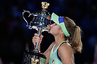 January 1, 2020: 14th seed SOFIA KENIN (USA) celebrates after defeating GARBIÑE MUGURUZA (ESP) on Rod Laver Arena in the Women's Singles Final match on day 13 of the Australian Open 2020 in Melbourne, Australia. Photo Sydney Low. Kenin won 46 62 62