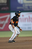 Christian Paulino (21) of the San Jose Giants runs the bases during a game against the Inland Empire 66ers at LoanMart Field on August 30, 2017 in San Bernardino California. San Jose defeated Inland Empire, 3-0. (Larry Goren/Four Seam Images)