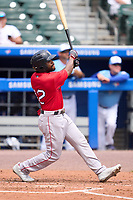 Worcester Red Sox Delino DeShields (12) bats during a game against the Buffalo Bisons on August 29, 2021 at Sahlen Field in Buffalo, New York.  (Mike Janes/Four Seam Images)