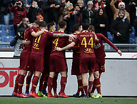 Football, Serie A: AS Roma - Torino, Olympic stadium, Rome, January 19, 2019. <br /> Roma's Nicolò Zaniolo (r) celebrates after scoring with his teammates during the Italian Serie A football match between AS Roma and Torino at Olympic stadium in Rome, on January 19, 2019.<br /> UPDATE IMAGES PRESS/Isabella Bonotto
