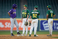 Giovanni DiGiacomo (7) of the LSU Tigers chats with Baylor Bears shortstop Nick Loftin (2) during a stoppage in play during game five of the 2020 Shriners Hospitals for Children College Classic at Minute Maid Park on February 28, 2020 in Houston, Texas. The Bears defeated the Tigers 6-4. (Brian Westerholt/Four Seam Images)