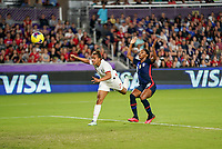ORLANDO, FL - MARCH 05: Nikita Parris #7 of England heads a ball during a game between England and USWNT at Exploria Stadium on March 05, 2020 in Orlando, Florida.