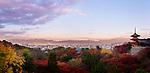 Sanjunoto, Sanju-no-to pagoda, Kiyomizu-dera in Kyoto, beautiful panoramic view in colorful autumn sunrise morning scenery with Kyoto city skyline landscape in the background. Higashiyama, Kyoto, Japan 2017. Image © MaximImages, License at https://www.maximimages.com