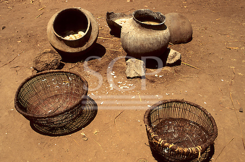Mahale, Tanzania, Africa. Local made pots and baskets used in extracting poisons from cassava roots near Lake Tanganyka.