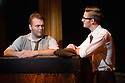 London, UK. 10.10.2014. Mountview Academy of Theatre Arts presents CURTAINS, at the Bernie Grant Arts Centre. Picture shows:  Alastair Farrall-Daniel (AARON FOX) and James Hinton (LIEUTENANT FRANK CIOFFI). Photograph © Jane Hobson.