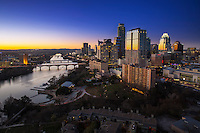 Austin, Texas proudly claims the fastest growing downtown Skyline in Texas and greatest commercial and residential real estate market boom in Texas as is evident in this photo of the downtown skyscrapers overlooking Lady Bird Lake.