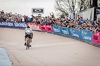World Champion Peter Sagan (SVK/Bora-Hansgrohe) sitting in Silvan Dillier's (SUI/AG2R-La Mondiale) slipstream in the last lap inside the famous Roubaix Velodrome<br /> <br /> 116th Paris-Roubaix (1.UWT)<br /> 1 Day Race. Compiègne - Roubaix (257km)