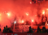 16th May 2018, Stade de Lyon, Lyon, France; Europa League football final, Marseille versus Atletico Madrid; Marseille fans light up flares before kick off