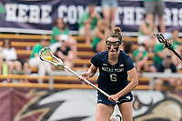 NEWTON, MA - MAY 22: Kathleen Roe #6 of Notre Dame on the attack during NCAA Division I Women's Lacrosse Tournament quarterfinal round game between Notre Dame and Boston College at Newton Campus Lacrosse Field on May 22, 2021 in Newton, Massachusetts.
