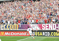 USA's Clint Dempsey celebrates after scoring the game winning goal against Turkey.during an international friendly tune up match for the 2010 World Cup, at Lincoln Financial Field, in Philadelphia, PA, Saturday, May 29, 2010. USA defeated Turkey 2-1.