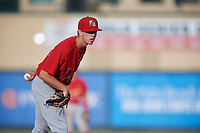Palm Beach Cardinals relief pitcher Jacob Patterson (34) looks in for the sign during a game against the Jupiter Hammerheads on August 4, 2018 at Roger Dean Chevrolet Stadium in Jupiter, Florida.  Palm Beach defeated Jupiter 7-6.  (Mike Janes/Four Seam Images)