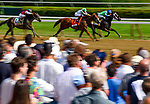 SARATOGA SPRINGS, NY - AUGUST 26: By The Moon #4, ridden by Rajiv Maragh hands on against a charging Highway Star #7, ridden by AS Arroyo to win the Ballerina Stakes on Travers Stakes Day at Saratoga Race Course on August 26, 2017 in Saratoga Springs, New York. (Photo by Alex Evers/Eclipse Sportswire/Getty Images)