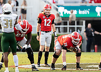 ATHENS, GA - SEPTEMBER 11: Brock Vandagriff #12 calls a play during a game between University of Alabama Birmingham Blazers and University of Georgia Bulldogs at Sanford Stadium on September 11, 2021 in Athens, Georgia.
