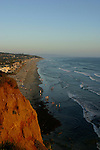 An evening walk along the Del Mar beach,one of California's most popular beaches, on the 4th of July.
